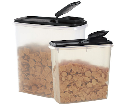 Two Tupperware Cereal Storers 13-cup & 20-cup Clear Containers & Black Seals New