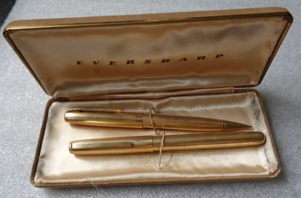 scarce yellow 14k gold filled Eversharp fountain pen mechanical pencil set box