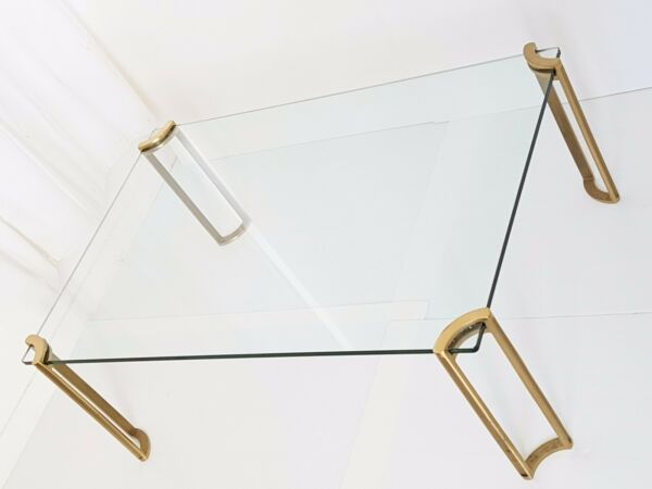 PETER GHYCZY : COFFEE TABLE RECTANGULAR BRASS SOLID & GLASS 1970 VINTAGE