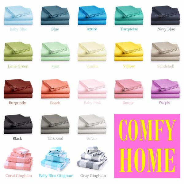 40% OFF - 4 Piece Bed Sheet Set Solid Color Deep Pocket Hotel Quality 1800 Count