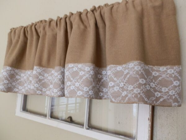 WHITE LACE amp; BURLAP Soft Burlap Valance with 6quot; Lace Trim Handcrafted by Nana