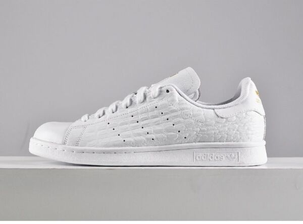 Adidas Originals Stan Smith Croc TRIPLE WHITE Leather Gold AQ2727 Men Shoes NEW