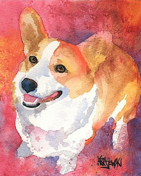 Corgi Dog 8x10 Art PRINT Signed by Artist Ron Krajewski Painting Welsh Pembroke $17.50
