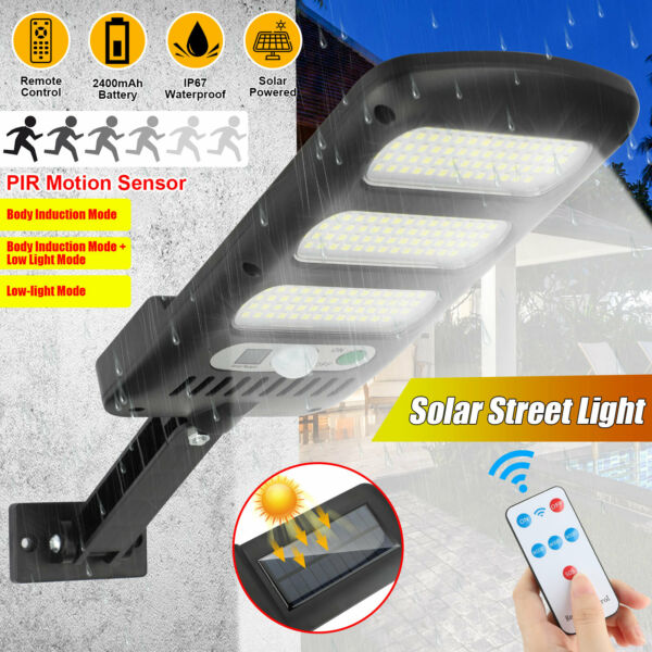 213LED Outdoor Solar Street Wall Light Sensor PIR Motion LED Lamp Remote Control $20.78