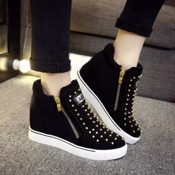 Womens Hidden Wedge Heel High Top  Fashion Sneakers Studded Ankle Sports Shoes