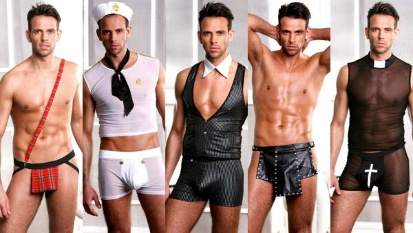 Men#x27;s Sexy Virtual Zoom Fancy Dress Stag Party Costume Wick Hot Funny Costumes GBP 19.99