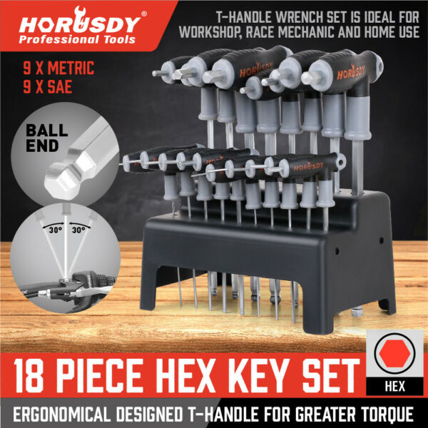 20 Piece T Handled Allen Wrench Bit Hex Key Set SAE & METRIC With Stand