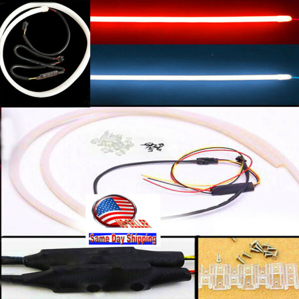 2x45cm DC 12V DRL LED Strip White red Tube Switchback Headlight For Audi Style