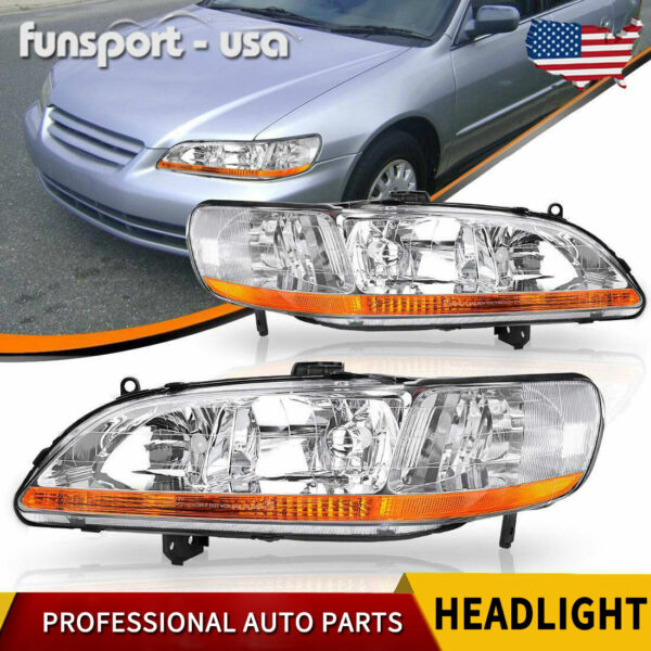 for 1998 1999 2000 2001 2002 Honda Accord Chrome Headlights Headlamps LeftRight