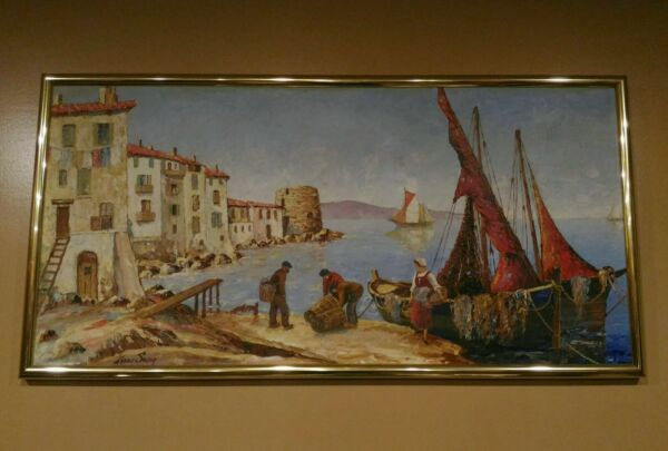 original xavier sager French artist oil painting on wooden board late 1800's