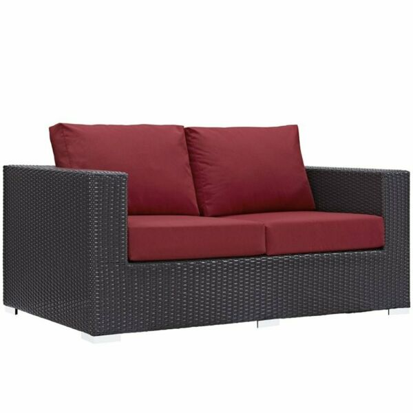 Modway Convene Patio Loveseat in Espresso and Red $883.08