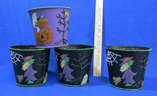 Halloween Pails Tin Bucket Lined Planters 1 Ghost 3 Witch Cob Web  Lot of 4