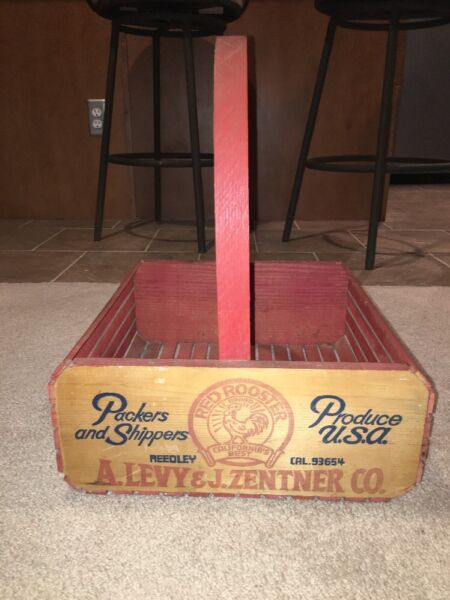 Vintage Wood Wooden Produce Crate Red Rooster Levy & Zentner Basket wHandle