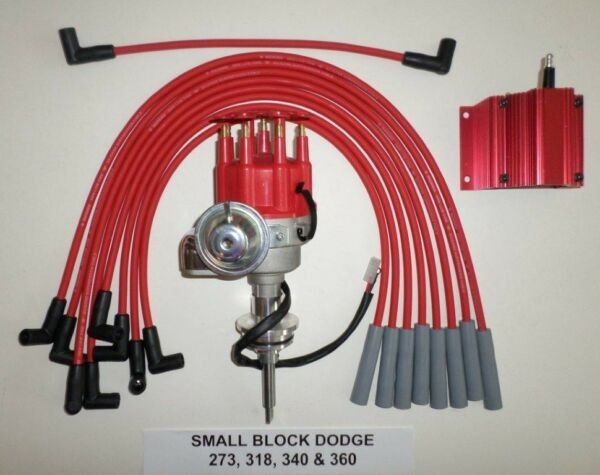 DODGE 273-318-340-360 Red SMALL Cap HEI Distributor +50K COIL + Spark Plug Wires