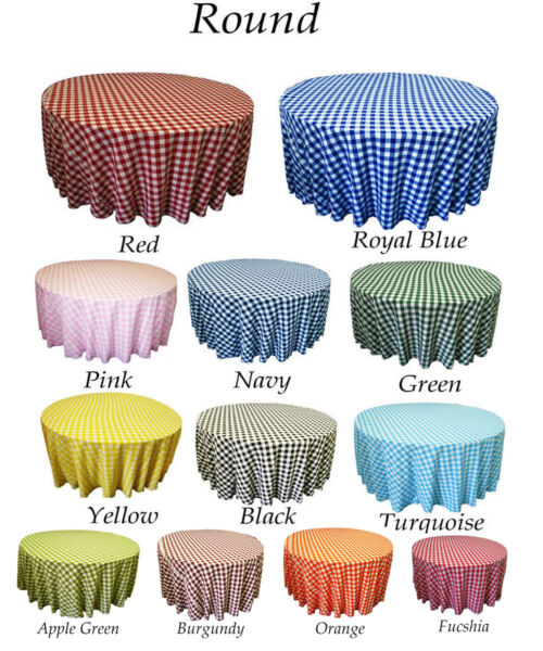 Tablecloth Checkered Round 303645546072839096108 and 120 inch