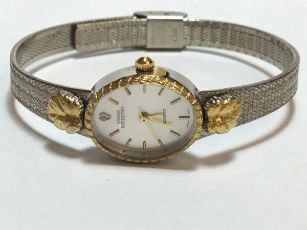 Vintage Sarah Coventry Two Tone Quartz Diamond Watch Bracelet(LSC195)