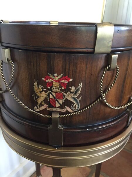 Althorp (Theodore Alexander) Drum-shaped box on Brass Stand