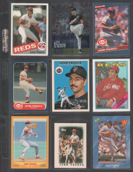 JOHN FRANCO ~ Lot of (9) Different Baseball Cards w Display Sheet (L300)