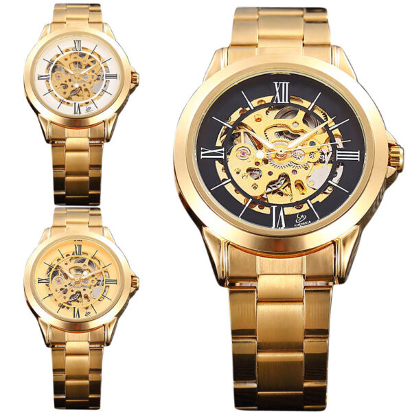 Luxury Charm Gold Tone Stainless Skeleton Automatic Mechanical Mens  $24.98