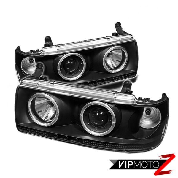For 91-97 Toyota Land Cruiser SUV 4x4 Black Halo Angel Projector Headlights Lamp