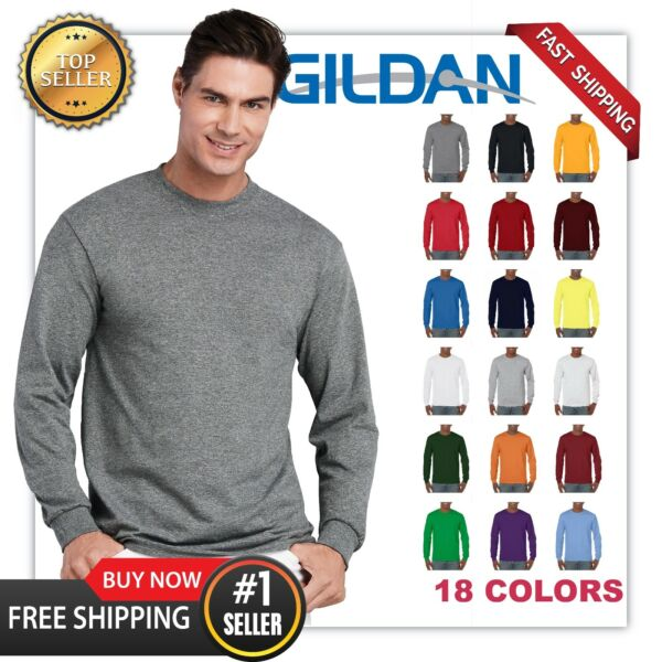 NEW MANS GILDAN LONG Sleeves BLANK t shirt Heavy Cotton Adult casual Tee G5400