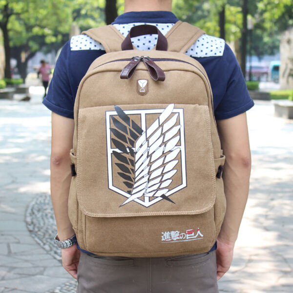 New Anime Attack On Titan Canvas Backpack Boy Girl School Bag Outdoor Travel Bag