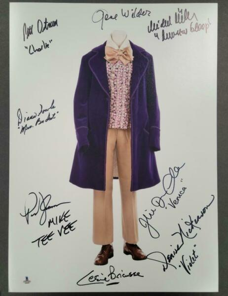 GENE WILDER Willy Wonka Cast x8 Signed 12x18 Photo Suit Beckett BAS LOA