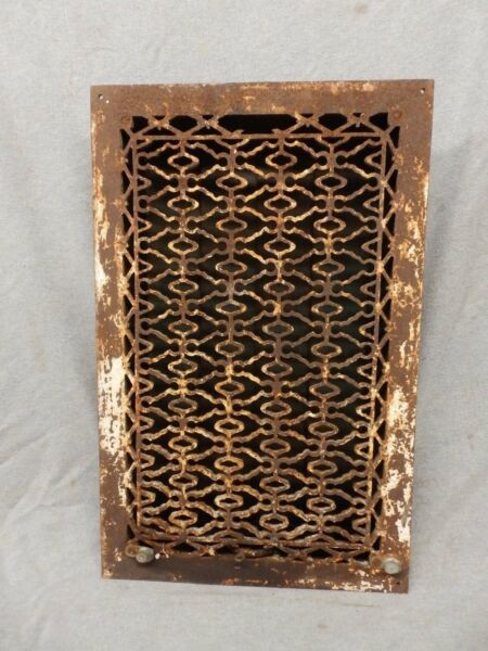 Antique Cast Iron Heat Grate Vent Register Old Design Decorative 20x12 364-17P