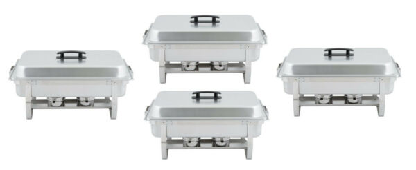 4 Pack 8 Qt. Full Size Stainless Cater Restaurant Buffet Chafing Dish Kit