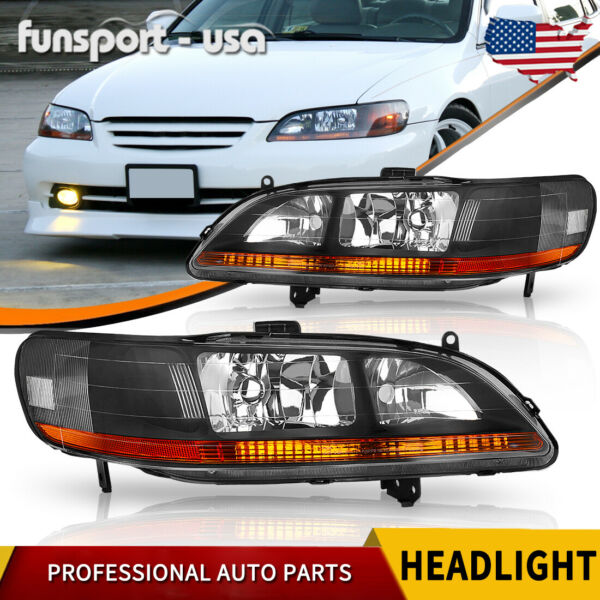 for 1998 2002 Honda Accord Black Housing Amber Headlights Headlamp Assembly PAIR