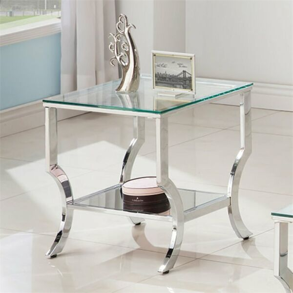Coaster Square Glass Top End Table in Chrome