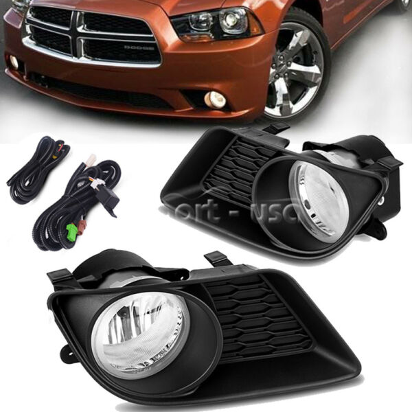 for 2011-2014 Dodge Charger Clear Front Bumper Fog Light Lamps+Wiring+Switch Kit