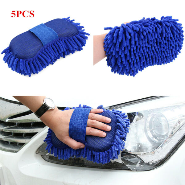 5 Pcs Auto Car Sponge Washing Gloves Brush Chenille Cleaner Clean Accessories