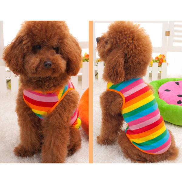 Summer Pet Dog Rainbow Stripe Clothes Costume Vest Puppy Cat T Shirt Gift C $13.69