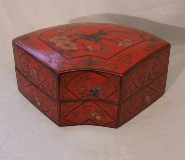 Japanese Meiji red lacquer fan box c1880. Hand Painted