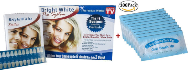 Bright White Smile Teeth Whitening Kit and 100pcs Finger Teeth Wipes Mint Flavor