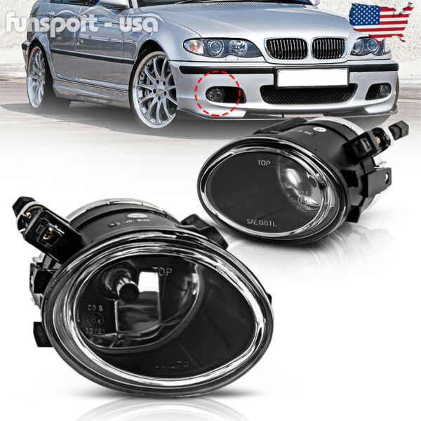 for 01-05 BMW E46 3 Series M3  00-03 M5 Clear Front Bumper Fog Light Lamps PAIR