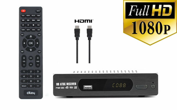 eXuby Digital Converter Box for TV & HDMI Cable & Remote ViewRecord Local HD TV