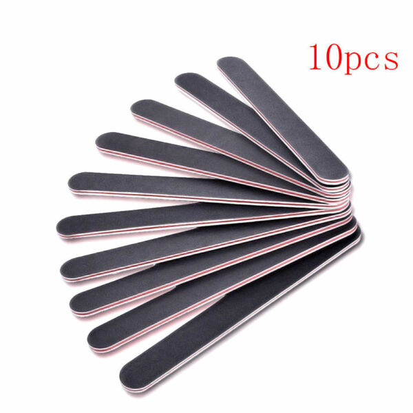 Black Pro Double Sided Manicure Nail File Emery Boards #100 #180 Pack of 10