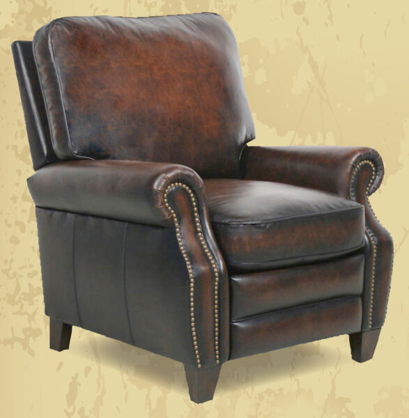 Barcalounger Briarwood II Genuine Stetson Coffee Leather Recliner Lounge Chair