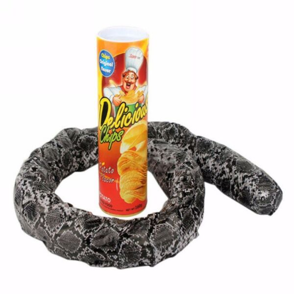 Potato Chip Can Skillful Novelty Joke Prank Jump Snake Funny Tricky Toy Plastic