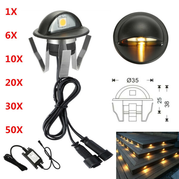 610203050X 12V Black Half Moon Outdoor Path LED Deck Stair Step Fence Lights