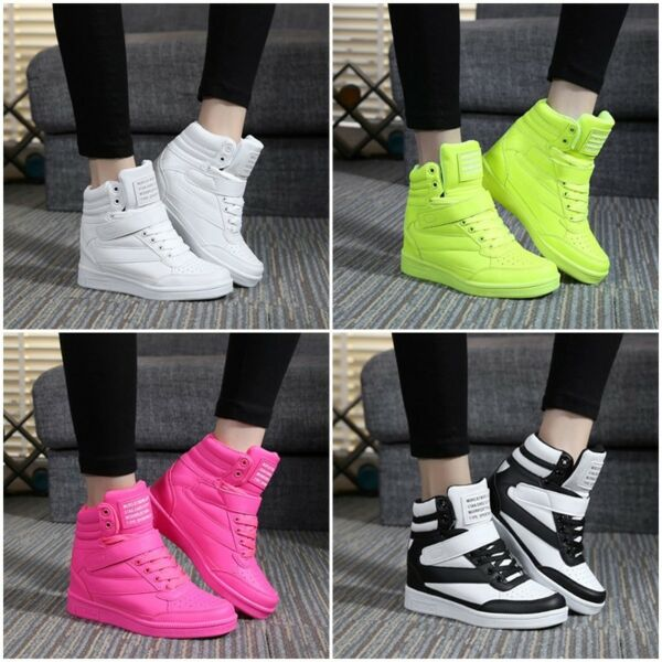 Womens Sneakers Lace Up Athletic High Top New Wedge Heel Casual Shoes Boots DM