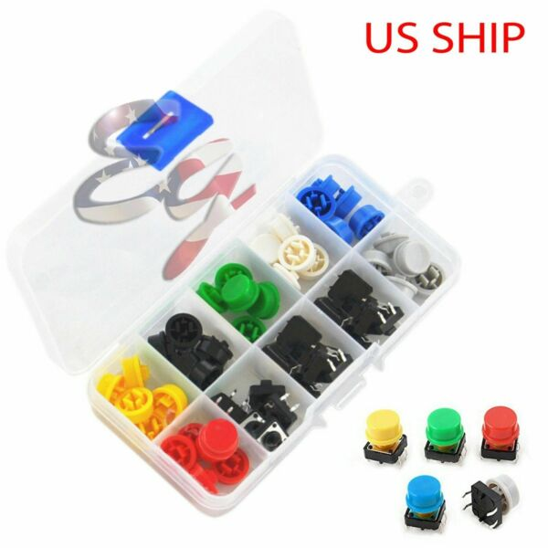 Tactile Push Button Switch Momentary Tact amp; Cap 12x12x7.3mm Assorted Kit Arduino