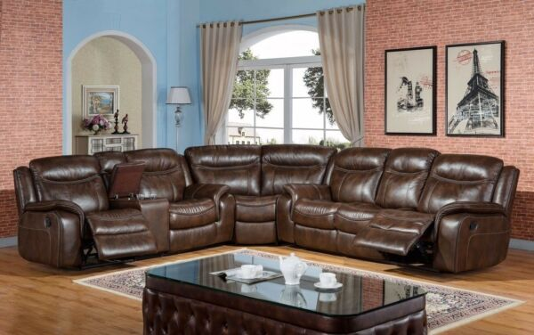 Braylon Classic Brown Reclining Sectional Sofa in Premium Leather Air Fabric