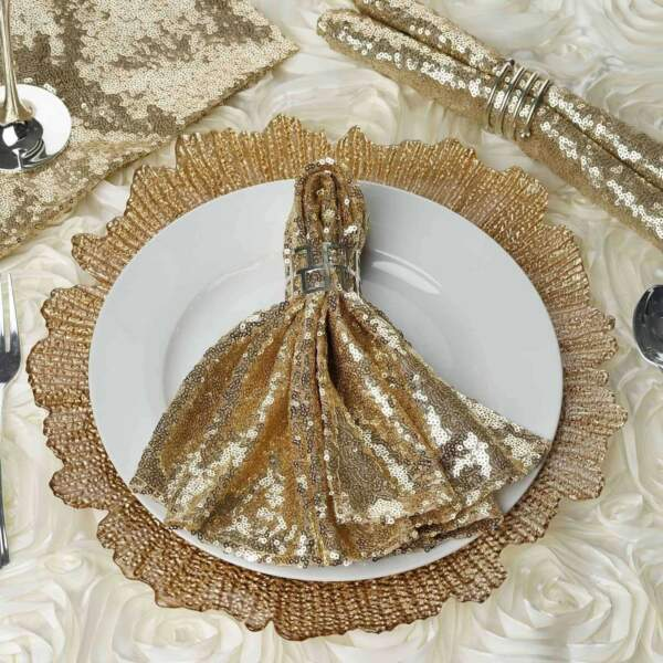 20 x 20 inch Premium Sequin Napkin For Wedding Birthday Party Holiday