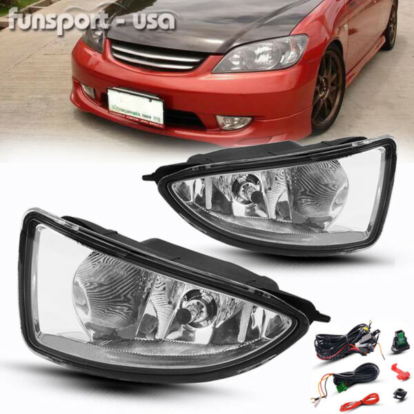 for 2004-2005 Honda Civic 24Dr JDM Clear Bumper Fog Light Lamp+Harness wSwitch