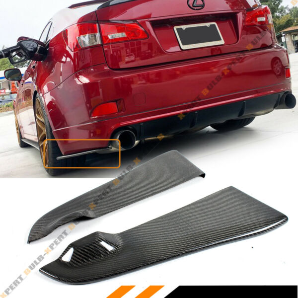 FOR 06 13 LEXUS IS250 IS350 ISF CARBON FIBER REAR BUMPER LOWER SIDE APRON SPATS
