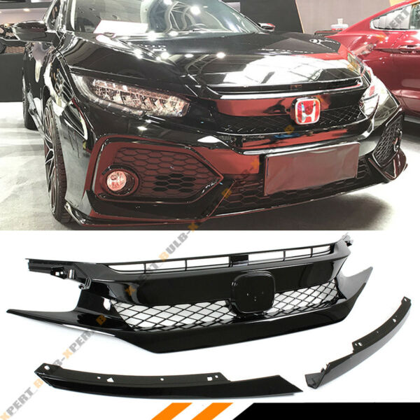 FOR 2016-18 CIVIC SEDANCOUPEHATCH GLOSS BLK FK8 TYPE-R STYLE FRONT HOOD GRILL