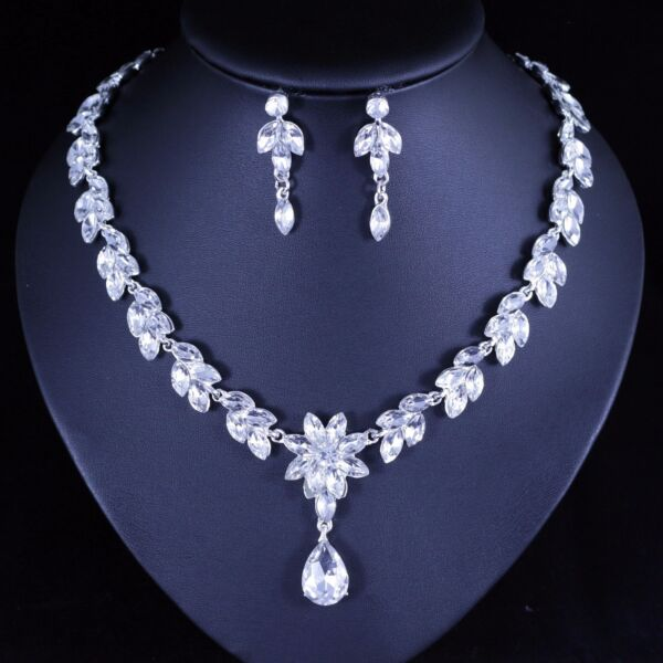 Floral Clear Austrian Rhinestone Necklace Earring Set Bridal Prom Pageant N67 $6.99